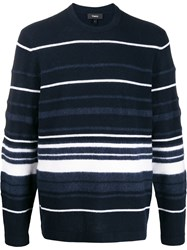Theory Hilles Striped Jumper Blue