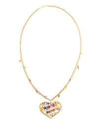 Chopard Copacabana 18K Multicolored Sapphire And Diamond Heart Pendant Necklace Women's