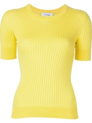 Courra Ges Round Neck Knit Top Yellow And Orange