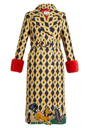 Gucci Geometric Print Fur Trimmed Wool Blend Coat Yellow Multi