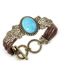 Macy's Gold Tone Turquoise Look Stone And Faux Leather Toggle Bracelet Multi