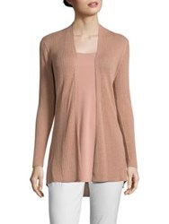 Eileen Fisher Ribbed Silk And Organic Cotton Cardigan Toffee Cream