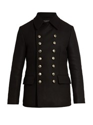 Dolce And Gabbana Wool Blend Peacoat Black
