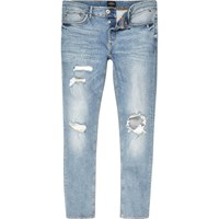 River Island Mens Light Blue Sid Ripped Skinny Jeans