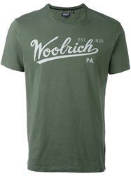 Woolrich Logo Print T Shirt Men Cotton M Green