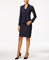 Le Suit Striped Seersucker Skirt Navy
