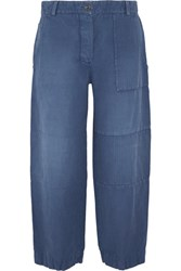 Burberry Cropped Brushed Ramie And Cotton Blend Pants Mid Denim