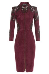 Jitrois Embroidered Suede Mini Dress Red