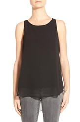 Matty M Chiffon Overlay Knit Tank Black