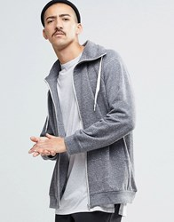 Weekday Pod Zip Thru Hoodie Sweat In Grey Melange Grey Melange