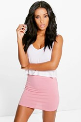 Boohoo Basic Bodycon Mini Skirt Dusky Pink