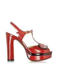 L'autre Chose Red Patent Leather Platform Sandal