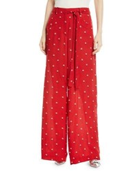 Valentino Rosebud Print Wide Leg Silk Pajama Pants Red Pattern