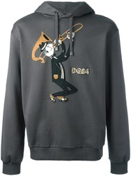 Dolce And Gabbana Trombonist Patch Hoodie Grey