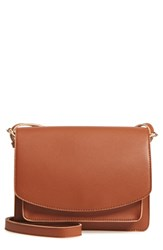 Sole Society 'Michelle' Faux Leather Crossbody Bag Brown New Cognac