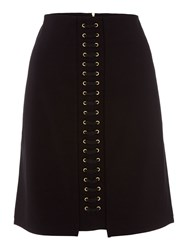 Biba Eyelet Detail Stretch A Line Skirt Black