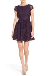 Women's Speechless Glitter Lace Fit And Flare Dress Raisin