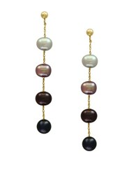 Effy 5.5Mm 6Mm Multi Hued Freshwater Pearls And 14K Yellow Gold Linear Drop Earrings