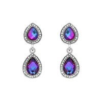 Monet Silver Alexandrite Drops Clip Earrings Silver