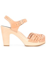 Swedish Hasbeens 'Braided' Sandals Nude Neutrals
