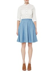 French Connection Denim Mix Flared Skirt White Washed Blue