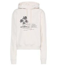 Saint Laurent Printed Cotton Hoodie White