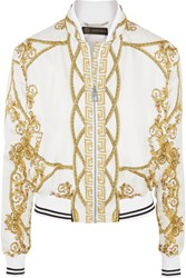 Versace Printed Silk Twill Bomber Jacket White