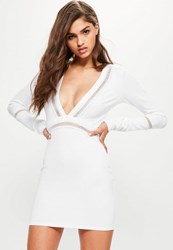 Missguided White Front Plunge Mesh Panel Bodycon Dress