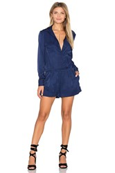 Finders Keepers Great Heights Long Sleeve Romper Navy