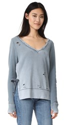 Pam And Gela Side Slit Sweatshirt Blue Suede