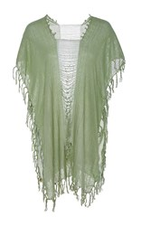 Caravana Tulum Ak Kin Frayed Cap Sleeve Tunic Light Blue