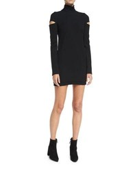Helmut Lang Turtleneck Slit Long Sleeve Mini Sweater Dress Black