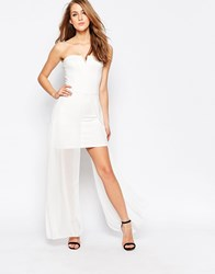 Ax Paris Strapless Dress With Chiffon Maxi Overlay Cream