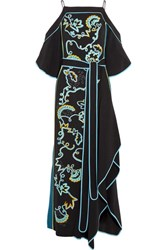 Peter Pilotto Cold Shoulder Embroidered Cady Gown Black