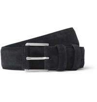 Loro Piana 3.5Cm Navy Maine Alligator Trimmed Suede Belt Navy