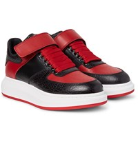 Alexander Mcqueen Exaggerated Sole Leather Sneakers Red