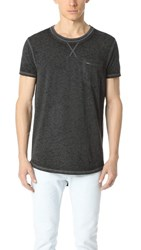 Scotch And Soda Uneven Hem Tee Washed Black