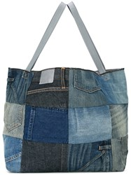 6397 Patchwork Tote Women Cotton Spandex Elastane One Size Blue
