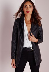 Missguided Faux Leather Longline Blazer Black