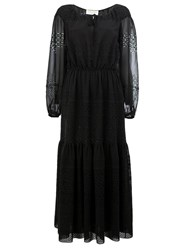 Saint Laurent Broderie Anglaise Tiered Dress Black