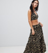 282bd5387eeb Milk It Vintage Ruffled Maxi Skirt In Paisley Print Co Ord Black