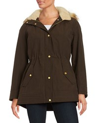 Jones New York Faux Fur Trimmed Hooded Jacket Olive