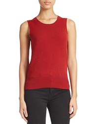 Lord And Taylor Cashmere Crewneck Shell Red Dahlia