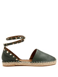 Valentino Rockstud Leather Espadrilles Dark Green