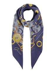 Guess Jacqui Chain And Logo Scarf Blue