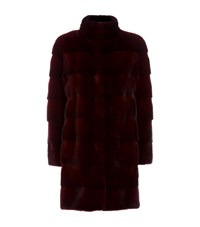 Lilly E Violetta Sarah Long Mink Jacket Red