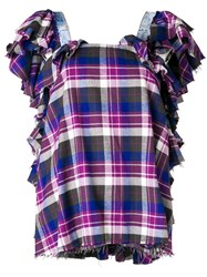 Natasha Zinko Plaid Ruffled Top Blue