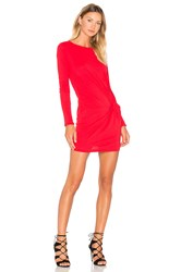 Bobi Supreme Jersey Long Sleeve Knot Mini Dress Red