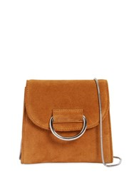 Little Liffner Tiny Box Suede Shoulder Bag Tan