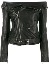 Faith Connexion Off Shoulder Biker Jacket Black